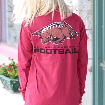 Razorback Logo with Football Stitch Print Long Sleeve Tee {Chili Pepper}