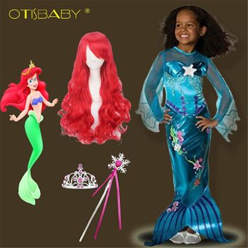 2018 Summer The Little Mermaid Ariel Princess Dress Halloween Easter Cosplay Costume Mermaid Red Wig Beach Dress Sequins Party