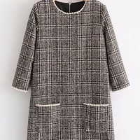 Contrast Trim Plaid Tweed Dress -SheIn(Sheinside)