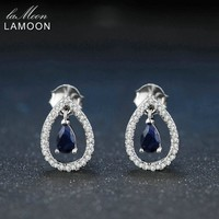 Lamoon 3X5mm Teardrop 100% Real Blue Sapphire 925 sterling-silver-jewelry Crown Stud Earring S925 LMEI054