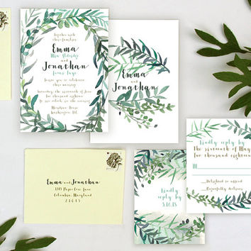 Leafy Garden Wedding Invitation Sample