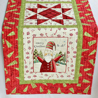 Christmas Table Runner Quilted, Whimsical Santa, Red Green Table Topper, Table Quilt, Quiltsy Handmade