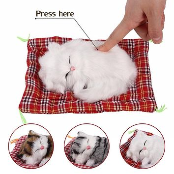 Plush Cat Toys Simulation Doll - Cat Sleeping Real Life Plush with Sound