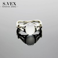 S.vex 2017 New Silver Plated Ring Genuine Moonstone Twilight Bella Stone For Women Rg036