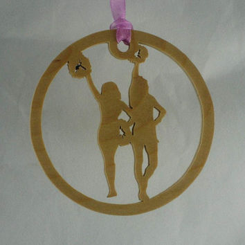 Cheerleaders Christmas Ornament Handmade From Birch Wood