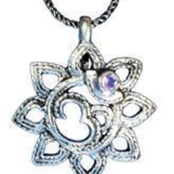 Sterling Silver Om Lotus Flower with Amethyst Pendant