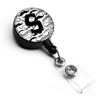 Letter S Moustache Initial Retractable Badge Reel CJ2009-SBR