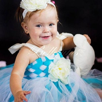 Turquoise tutu dress – woven tutu dress – flower girl tutu – baby tutu dress – wedding tutu dress – birthday tutu dress – party tutu dress