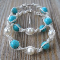 Handmade White Wax String Knitted Pearl Turquoise Hoops