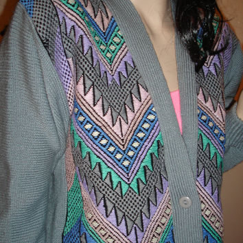 Vintage 1980's Aztec Embroidered Women's Oversized Cardigan Sweater Hipster Native L Tribal Ethnic