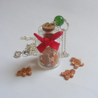 Gingerbread Men Bottle Necklace Pendant - Miniature Food Jewelry