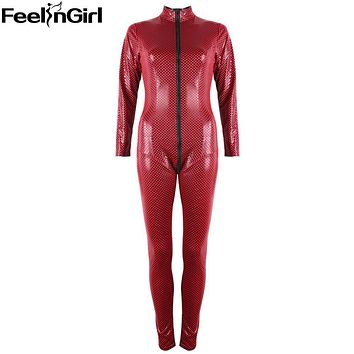FeelinGirl 2016 New Fashion Red Black Faux Leather Jumpsuit Front to Crotch 2 Way Zipper Sexy Latex Catsuit ClubWear Women -E