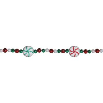 6' Peppermint Twist Sweet Tooth Sugared Red Green and White Candy Beaded Christmas Garland