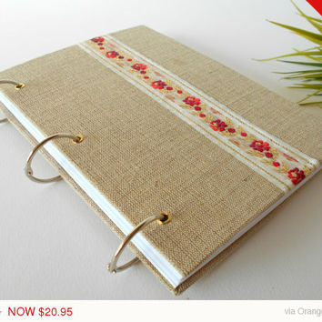 Sale -Autumn sale Burlap fabric ring journal with a pocket inside the cover- 200 pages- A4, A3, A2- refillable rustic journal with ring bind
