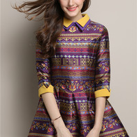 Purple Printed Pointed Flat Collar Half Sleeve A-Line Pleated Mini Dress