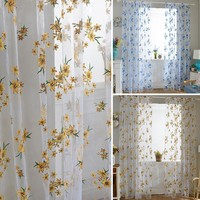 New 100cm x 200cm Cute  Sheer Tap Top Curtain Window Living Room Drapes Floral Curtains Panel
