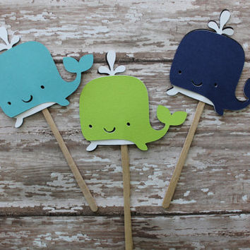 Navy, Aqua, Lime Whale Cupcake Toppers  Whale Theme, Ahoy, Baby Showers