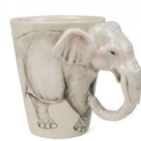 Elephant White Handmade Coffee Mug (10cm x 8cm):Amazon:Home & Kitchen