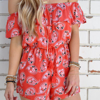 Paisley Print Off Shoulder Romper 9851