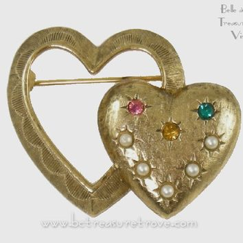 Vintage Double Heart Birthstone Mother's Pin in Original Caroline Emmons Box 1970s