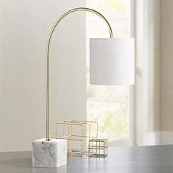 Task Brass and Marble Arched Desk Lamp | www.lampsplus.com
