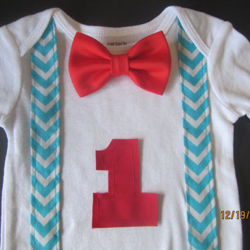 Boy white blue chevron suspender shirt, baby first birthday outfit, Boy birthday shirt, Boy first birthday Onesuit, baby blue suspender onsie