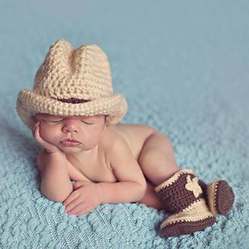 Newborn Photography Props Clothes Photo Shoot For Baby Boys Infant Hat Shoes Crochet Knitted Clothing Accessories Costume Outfit