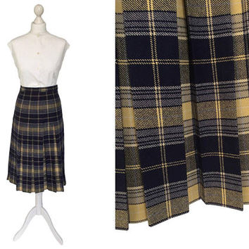 Preppy Pleated Skirt | 1970's Vintage Skirt | Wool Skirt | Tartan Plaid | Navy Blue And Butterscotch Soft Wool Winter Skirt