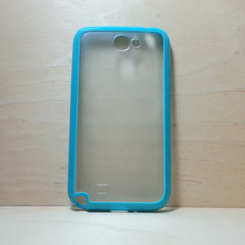 Samsung Galaxy Note 2 Case Silicone Bumper and Translucent Frosted Hard Plastic Back - Turquoise