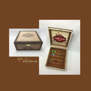 Nica Puro Torpedo Cigar Box Jewelry Box, Ring, Stud Earring & Cuff Link Holder, Ring, Cufflink, Tie Clip and Jewelry Display by Michelaneous