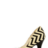 Restricted Jack Beige and Black Chevron Print Heels