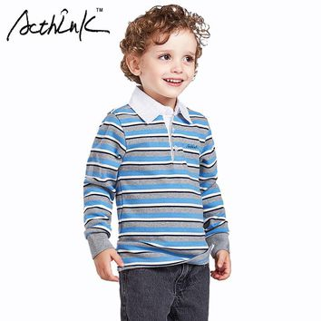 ActhInK 2017 New Boys Striped Polo Shirts Brand England Style Children Long Sleeve Shi