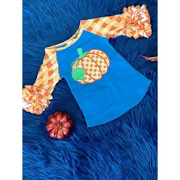 New Fall Girls Turquoise & Orange Plaid Pumpkin Shirt