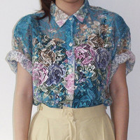 Printed see through floral lace loose short sleeve shirt