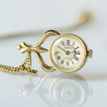 Gold plated feminine watch pendant Seagull, women's necklace watch, flower ornaments watch pendant, rare design fashion pendant