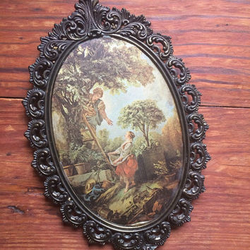 vintage picture in metal orante frame, wall hanging
