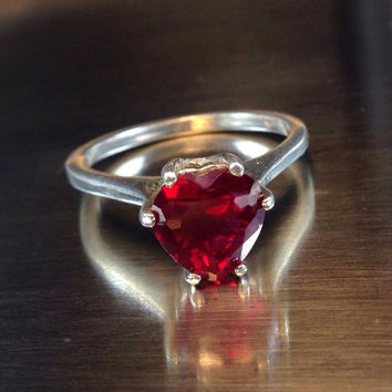 Red Ruby Heart Ring, Wedding Ring, Engagement Ring, Sweetheart Ring, Promise Ring, Valentine's Gift, Sterling Silver Ring with Ruby Heart