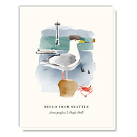 Hello from Seattle Seagull Card