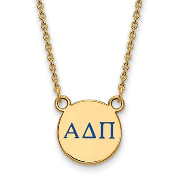14K Plated Silver Alpha Delta Pi Small Enamel Necklace