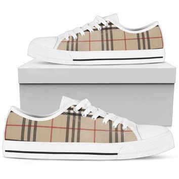 DCCKN3P Women's Low Top Canvas Shoes Inspired by Burberry