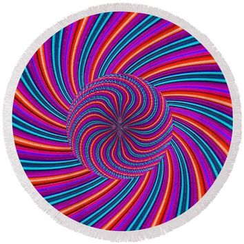 Purple Pink Swirl - Round Beach Towel