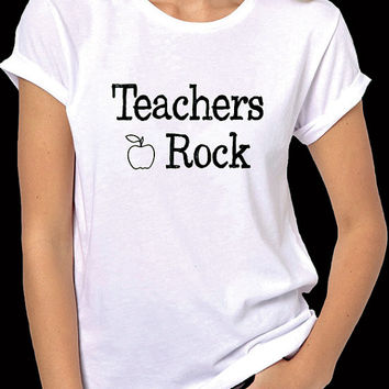 Teachers Rock T-Shirt - If you are a teacher or know a teacher, this short sleeve shirt in men or women unisex sizes to honor education.