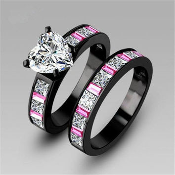 Heart Colorful princess cut AAA cz stone engagement ring wedding band set 18k black gold plated = 1932220612