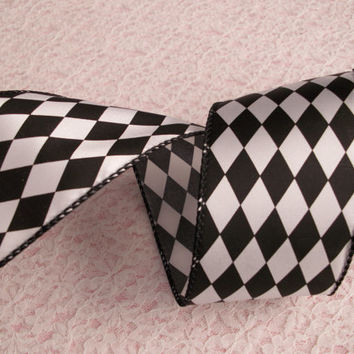 "Black and White Harlequin Diamond Ribbon, Wired Edge, 2 1/2"" Wide, Baskets, Bows, Wreaths, Mardi Gras Decor, Ribbon Decorations, 3 YARDS"