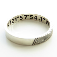 Fingerprint Ring, Coordinate Ring, Personalized Fingerprint Band, Couple Jewelry, Silver Memorial Jewelry, Latitude Longitude