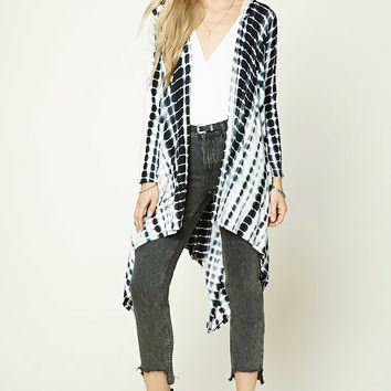 Abstract Print Hoodie Cardigan