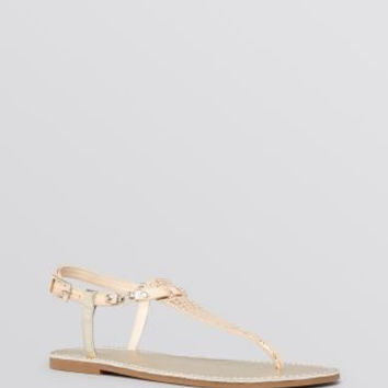 "Vince Camuto ""Itelli"" Leather T-Strap Thong Flat Sandal Gold"