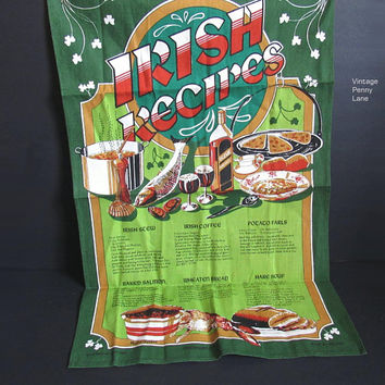 Vintage Pure Linen Printed Tea Towel / Dish Cloth, Irish Recipes by Maurice Oliphant
