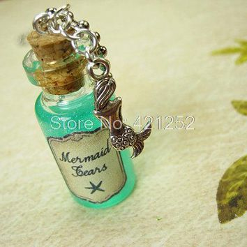 12pcs/lot Mermaid Tears necklace  Mermaid ocean sea charm Cork glass Bottle Pendant jewelry