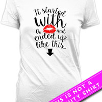 Funny Pregnancy T Shirt Pregnancy Announcement Baby Announcement Pregnancy Reveal It Started With A Kiss Mother To Be Ladies Tee MAT-655